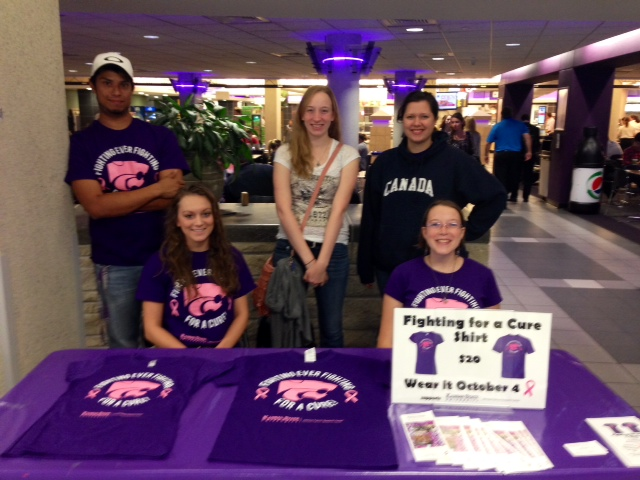 Cancer Fighters selling shirts in Union, Fall 2014